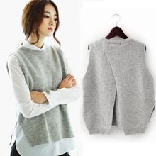 2015 spring loose big yards female hedging sweater vest sweater vest round neck wool vest waistcoat jacket(China (Mainland))