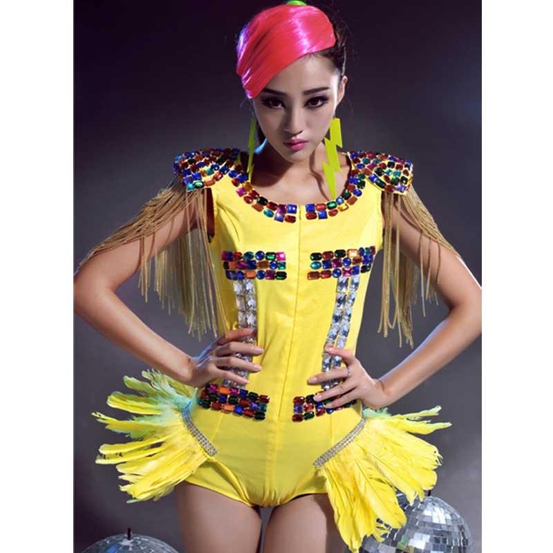 wholesale european american bar nightclub singer diamond rhinestone tassel sleeveless o-neck blue red women stage dance costumeОдежда и ак�е��уары<br><br><br>Aliexpress