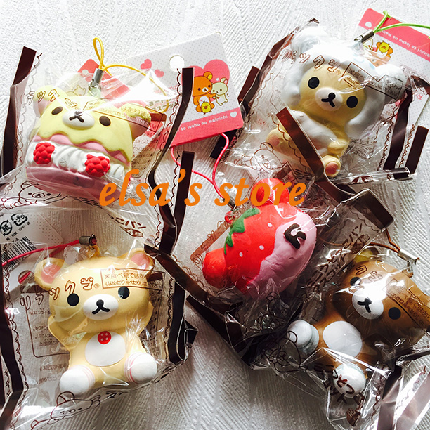squishies wholesale 10pcs mixed Super squishy lot KAWAII RARE rilakkuma squishy charm toy PU ...