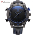 Kitefin Shark Sport Watch Blue LED Back Light Auto Date Display Leather Strap Quartz Digital Outdoor