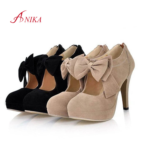2015 New Plus size 32-47 fashion vintage woman small bowtie platform pumps,ladys sexy high heeled shoes for women(China (Mainland))