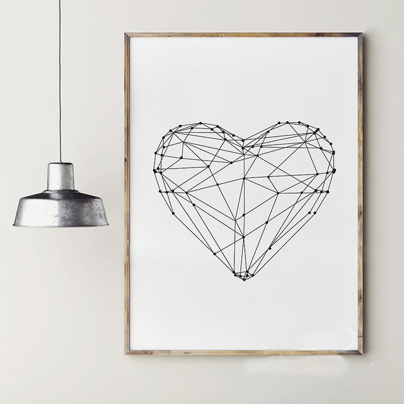 DCTOP Heart Shape Gepmetric Nordic Black White A4 Canvas Print Poster Home Decorative Living Room Bedroom Wall Picture Painting(China (Mainland))