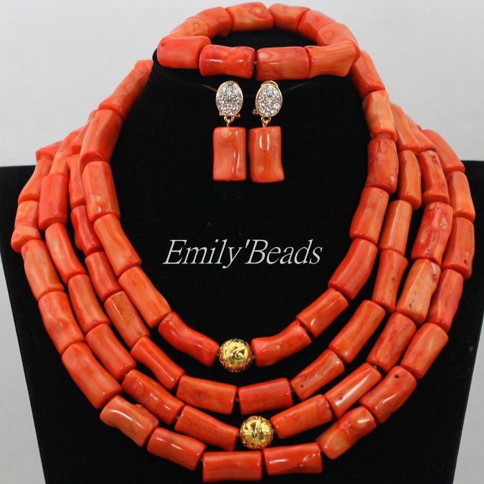 Здесь можно купить  Christmas Gift Nigerian Wedding Coral African Beads Necklace Jewelry Set Costume African Bridal Necklace Set Free Shipping CJ482  Ювелирные изделия и часы