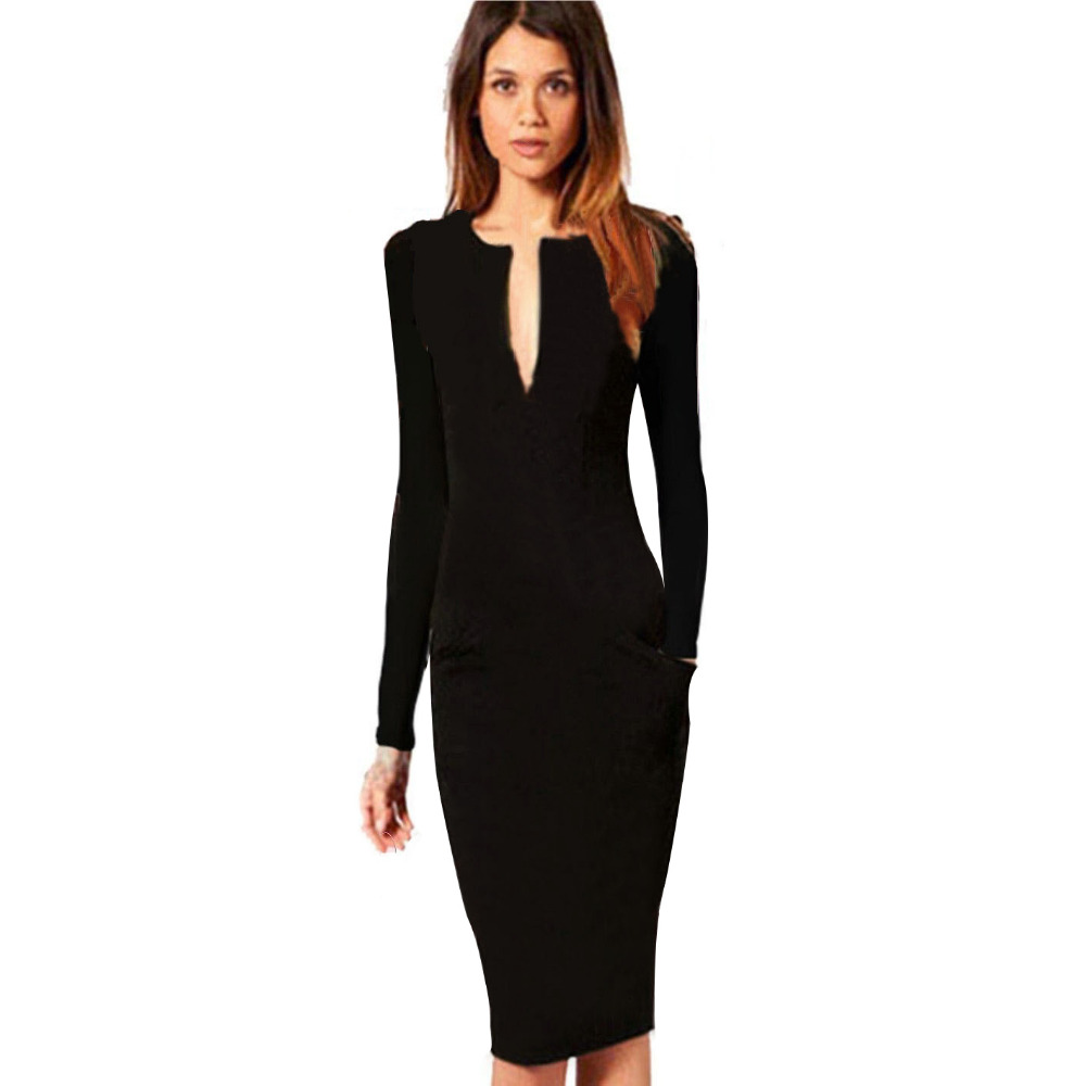 Women Dresses Autumn Winter V-neck Knee-length Full Sleeve Bodycon Pencil Party Cocktail Silm Size S M L XL XXL - Dongguan Amika fashion clothes store