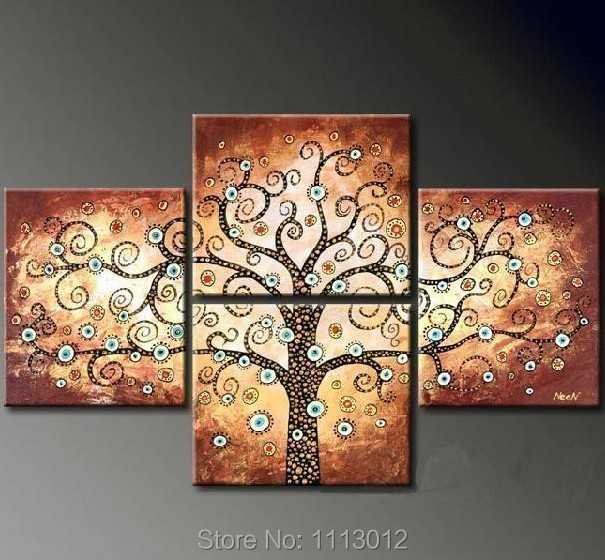 Abstract Brown Money Flower Tree Oil Painting Hand Painted