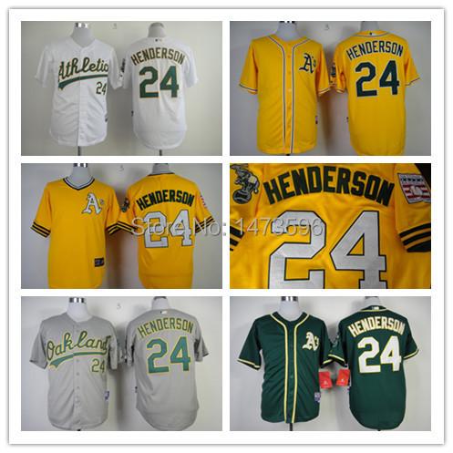 Oakland Athletics Jersey # 24 Rickey Henderson Men Baseball Jersey Size S ~ XXXL Free Shipping Cheap(China (Mainland))