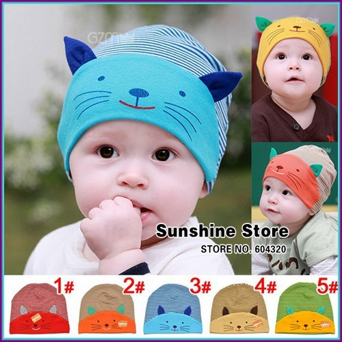 baby cat ears hat animal print beanie cotton face kids;cotton cap toddler autumn photography  2015 #2C2674  5 pcs/lot(5 colors)