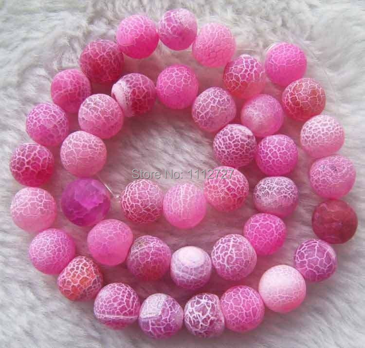 hot new 2014 Fashion Style diy Pink Matte Crack Agate Round Beads jewelry Natural Stone 10mm 14inch MY5029 Wholesale Price(China (Mainland))