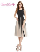 New Fashion Cocktail Party Dress Ever Pretty AS05403 2016 Simple Black Round Neck Tea Length Dress Cocktail Dresses(China (Mainland))