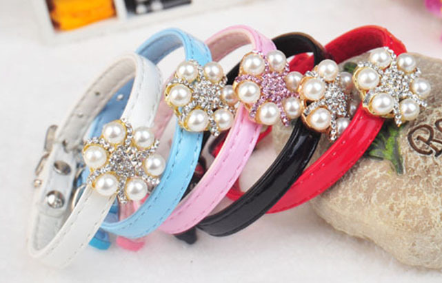 New!Wholesale 5PCS/lot S red/blue/pink/white/black Japanese style blingbling diamond 6angles star PU leather pet dog cat collar(China (Mainland))