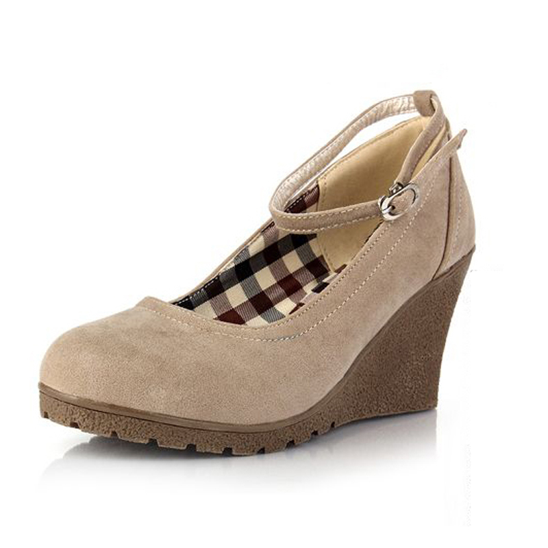 New 2016 Spring Mary Jane Wedges Shoes for Women Fashion Round Toe Ankle Strap Platform Wedges Shoes High Heels Women Pumps<br><br>Aliexpress