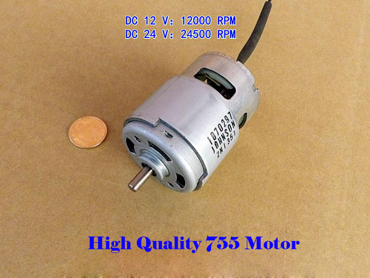 12V 24V High Speed 755 DC Motor With Bearing 12000 24500RPM Large Power Motor for Electric