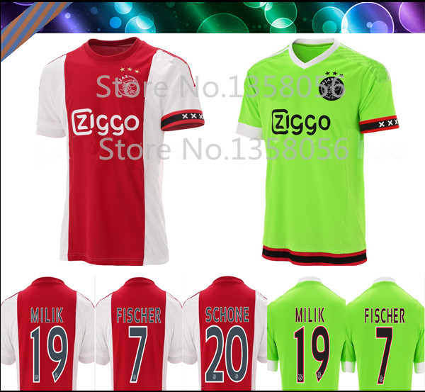 AFC Ajax 15/16 home red Away green Soccer Jerseys 3A+++ Best thai quality embroidery logo Milik Davy Klaassen Schone(China (Mainland))