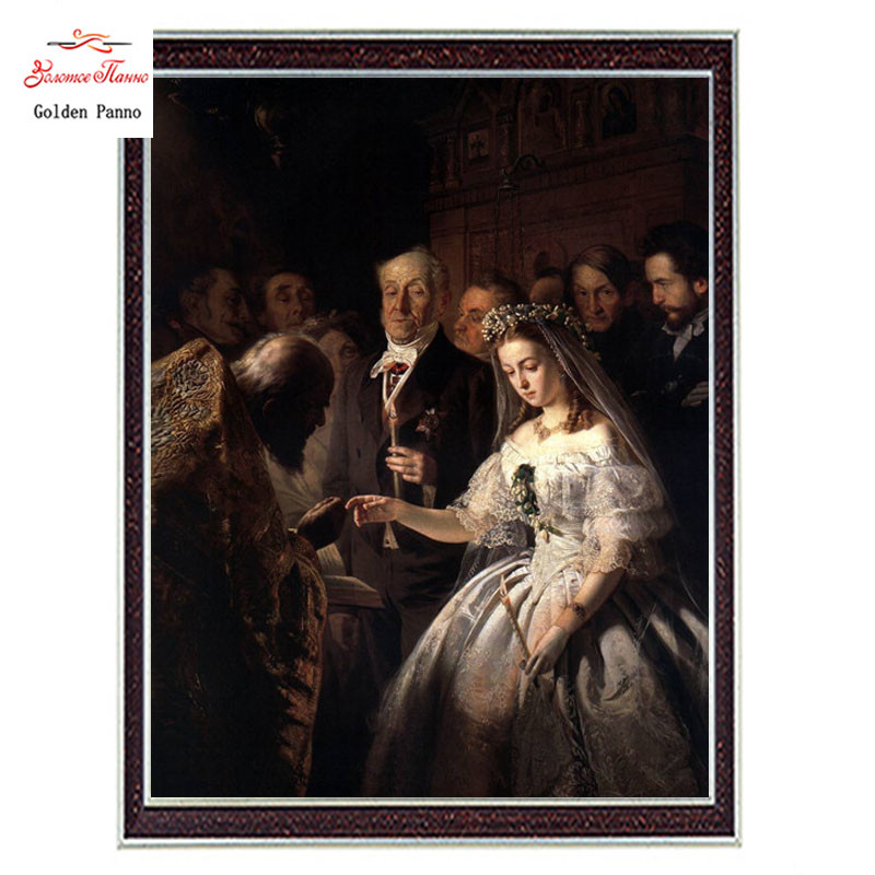 Needlework Craft Home decor 14CT unprinted embroidery French DMC Quality Counted Cross Stitch Kit Oil painting Unequal Marriage
