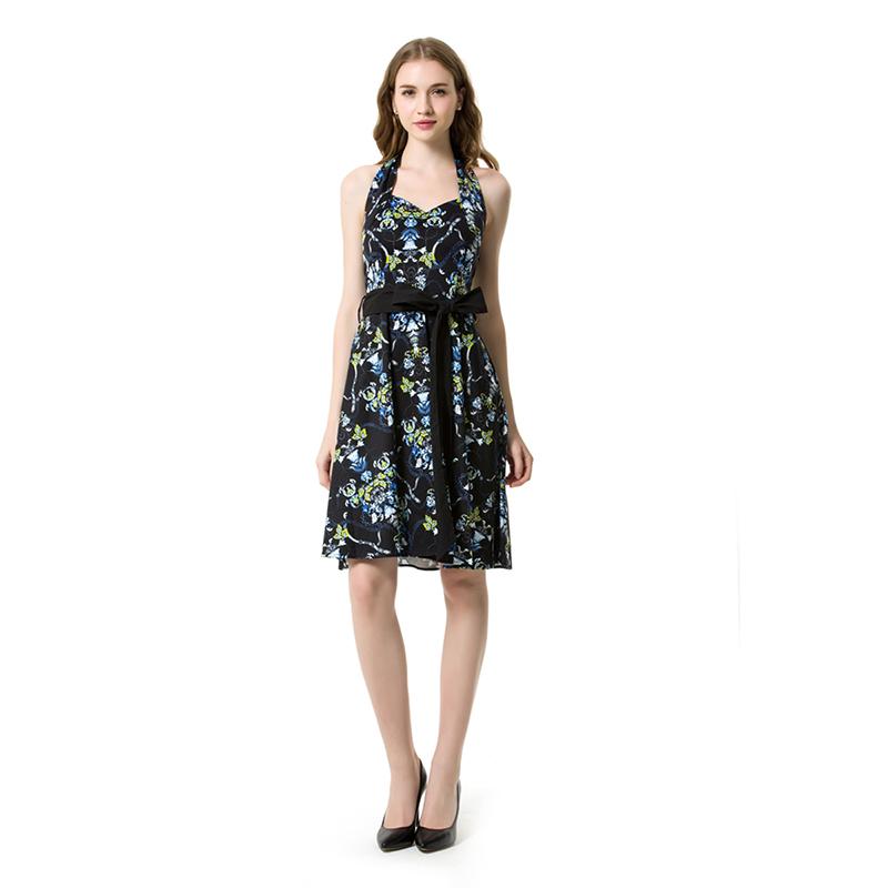 1950 Rockabliy Vintage Dress Blue Flower Pattern Halter Collar Dress With Black Bow Belt Audrey Hepburn Style Dinner Dress(China (Mainland))