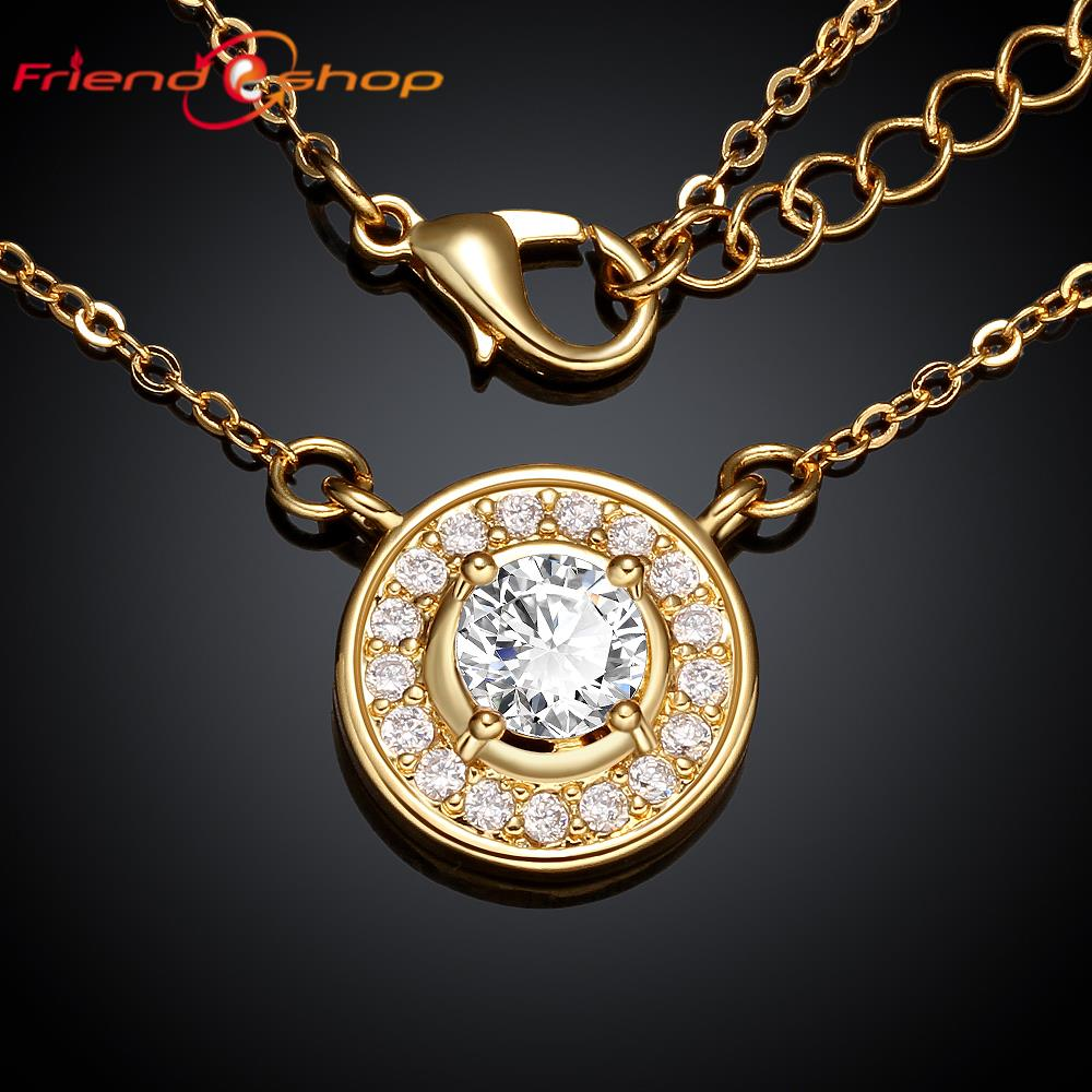 KN038-A 24K Yellow Gold / Rose Gold / Platinum Plated Pendant Necklace, With Side Stones Round Princess Cut CZ Diamond Necklaces(China (Mainland))