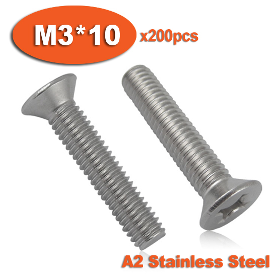 200pcs DIN965 M3 x 10 A2 Stainless Steel Screw Cross Recessed Countersunk Flat Head Screws<br><br>Aliexpress