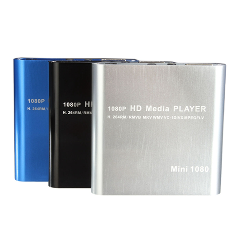 Hot Sale Mini 1080P HDD Media Player MultiMedia Muti-function Video Player MKV/H.264/RMVB Full HD With HOST USB Card Reader Best(China (Mainland))
