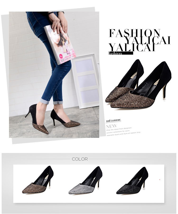 2016 New Brand Fashion Women Pumps Sequined Thin High Heel Pumps Shoes For Women Pointed Toe Sexy Party Wedding Woman Shoes Z2.5