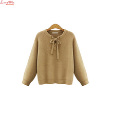 5XL laceing-up round collar fine thick sweater pullovers solid warm knitted jersey european style tops