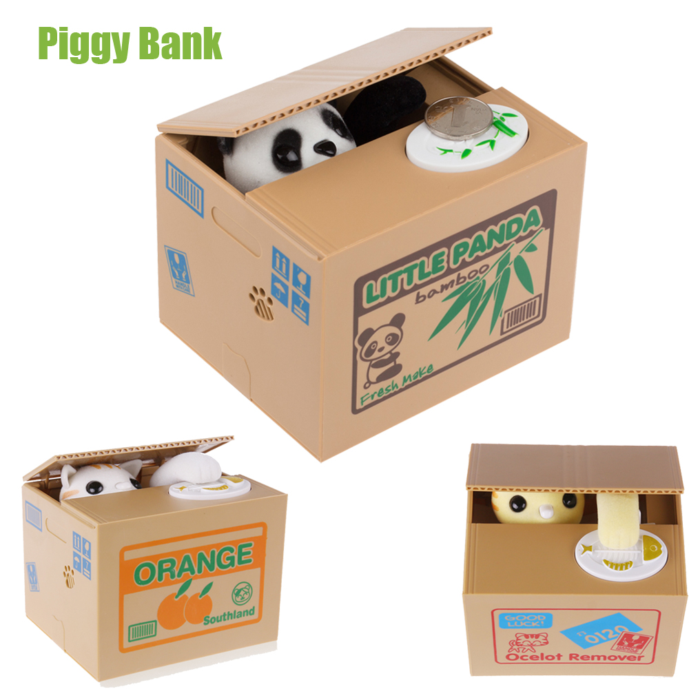 White yellow cat panda automatic stealing coin cat kitty coins penny cents piggy bank saving - Coin stealing cat piggy bank ...
