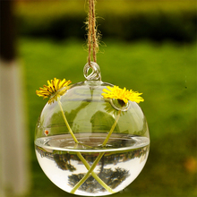 New Clear Glass Round with 2 Holes Flower Plant Stand Hanging Vase Hydroponic Container Wedding Decor(China (Mainland))