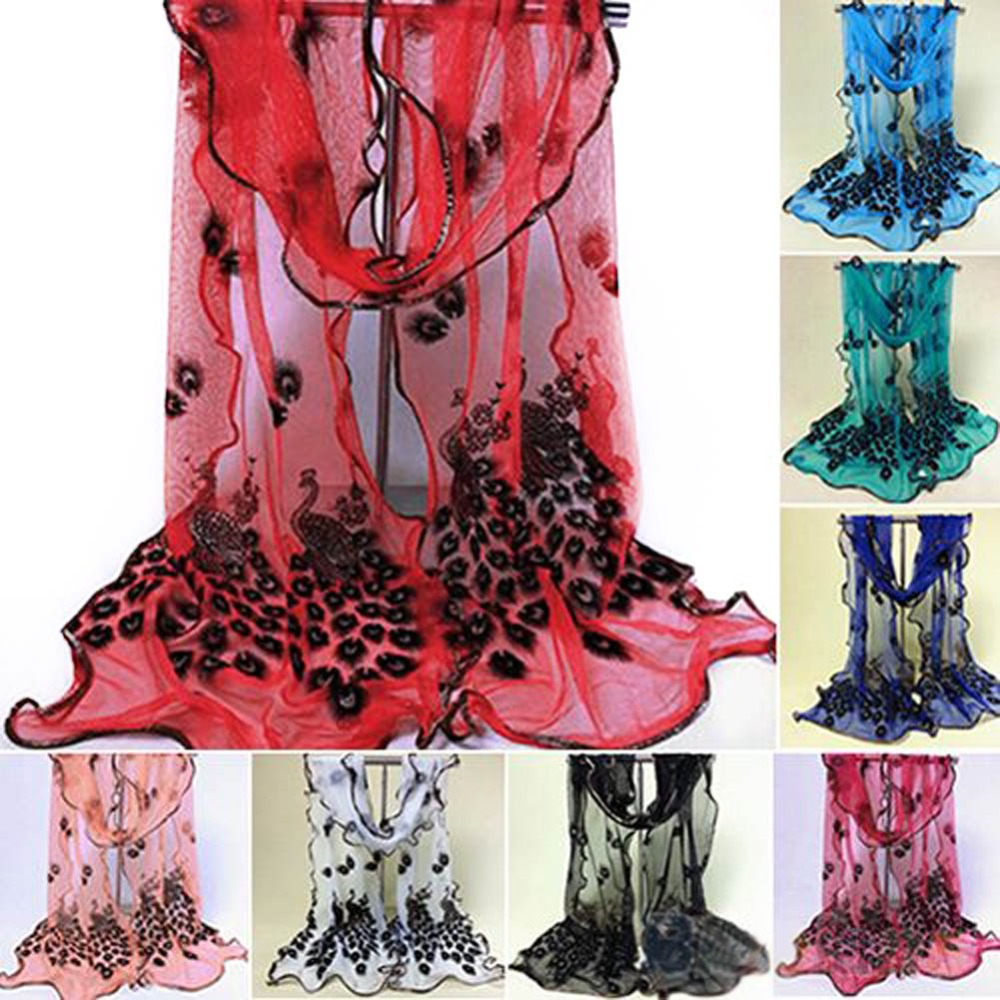 lackingone #Hottest Fashion New Womens 7 Colors handmade lace peacock scarves Chiffon Scarf Long Soft Wrap Shawl Stole Gift Одежда и ак�е��уары<br><br><br>Aliexpress