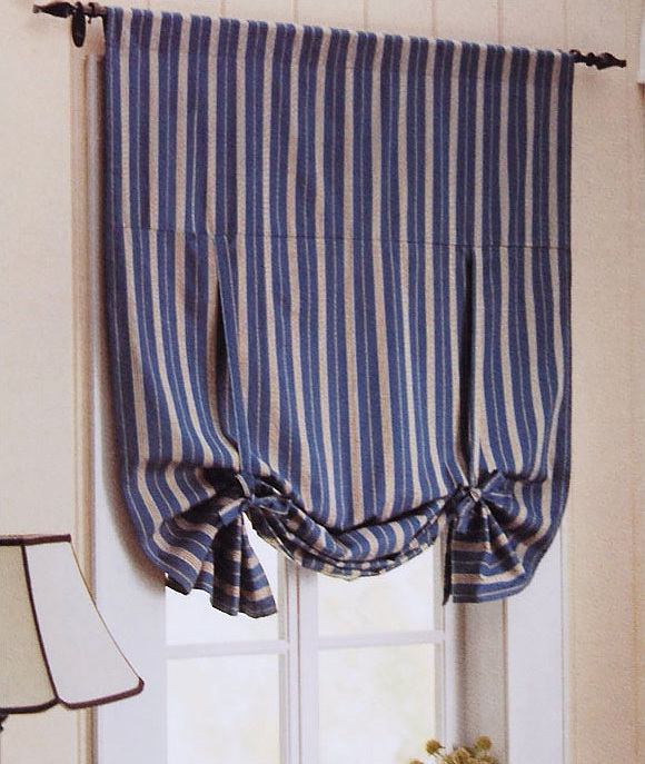 cotton blue stripe print finished products bedroom curtain roman blinds(China (Mainland))