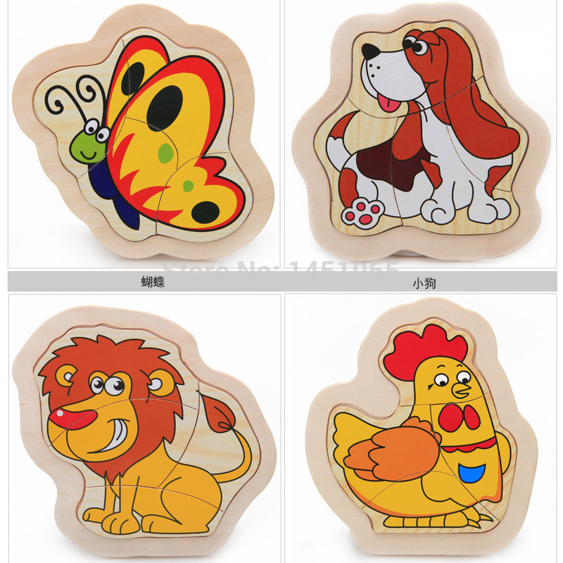 Educational Toys Wooden Toys Juguetes Educativos Wooden Four Early Education For Children Dimensional Animals 1-2-3-4 Years Old(China (Mainland))