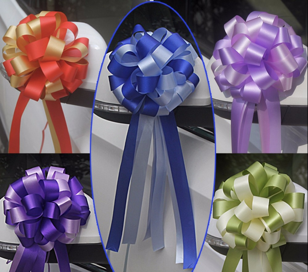 M/&C 10x 50mm Pull Bow Decorations Large Wedding Car Xmas Gift Wrap Floristry TK