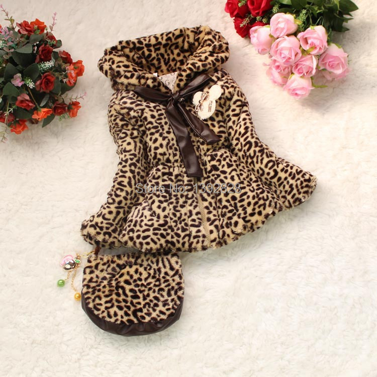 2014 NEW leopard fur collar girls coats girl winter hooded outerwear bags cotton padded clothes