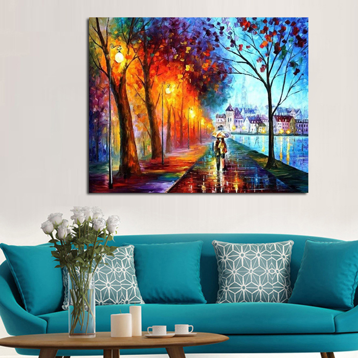 100%Handpainted Oil Painting Leonid City Couple Umbrella Unique Gift On Canvas Home Decor Wall Pictures For Living Room(China (Mainland))