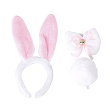 Kids White Rabbit Cosplay Costume Outfit Headband Tie Tail 3pcs Set