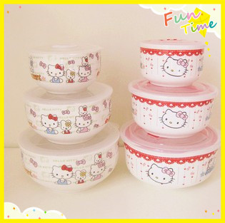 hello kitty ceramic bowl with lid tableware set fresh kt cat lunch box microwave bento box. Black Bedroom Furniture Sets. Home Design Ideas