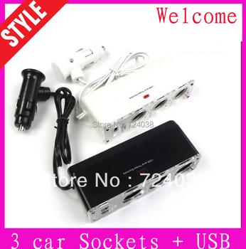 Wholesale discount Discount USB 3 way Car Cigarette Lighter Socket Splitter Charger