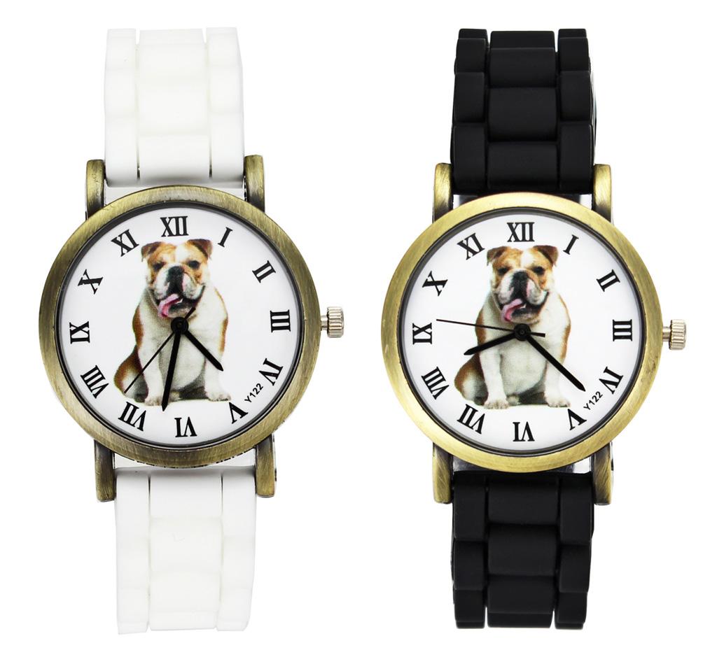 Bulldog Dog Love Pet Men Women Sport Silicone Black White Deals Wrist Watch<br><br>Aliexpress