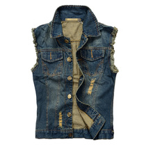 Mens Motorcycle Jean Men Plus Size 6XL Vest Dark Blue Ripped Destroyed Washed Slim Fit Sleeveless Denim Jacket