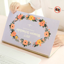 agenda 2017 Table Calendars Korean Countryside FLOWER Papery Print Daily Monthly Planner Cute Desk Organizer Office Schedule(China (Mainland))
