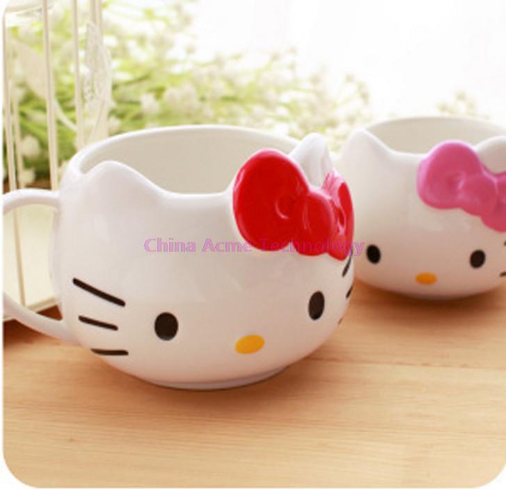 500 ml Mini Red Pink Ceramic Lovers Cup Bone china Cup Coffee Cup Large Capacity Mug Ceramic Milk Cup HelloKitty Mugs(China (Mainland))