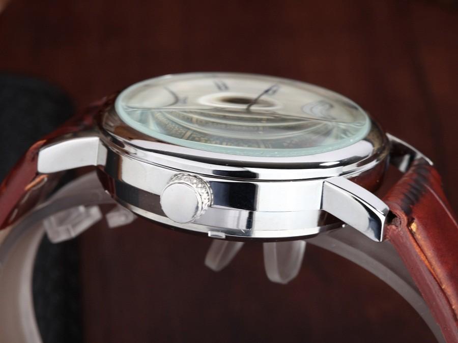 GOER бренд мужской цифровые часы механическая Автоматическая Мужчины кожа водонепроницаемый Движение Скелет Световой