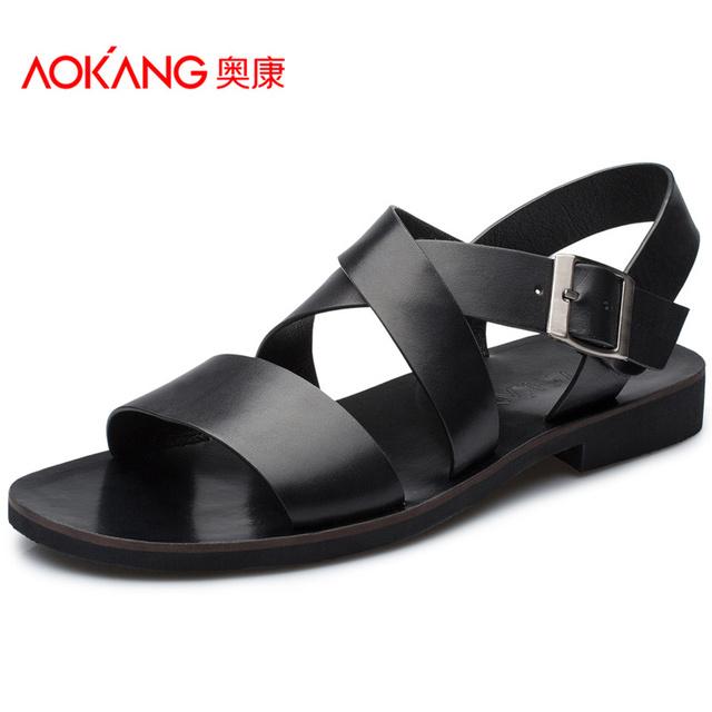 Aokang новые летние туфли кожи 2015 летом стиль кожа мужчины сандалии из натуральной ...