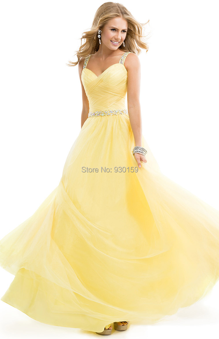 New Arrival Sexy Crystal Cutout Open Back Beading Belt A Line Spaghetti Straps Long Yellow Prom Dress 2014 Elegant Evening Gown(China (Mainland))