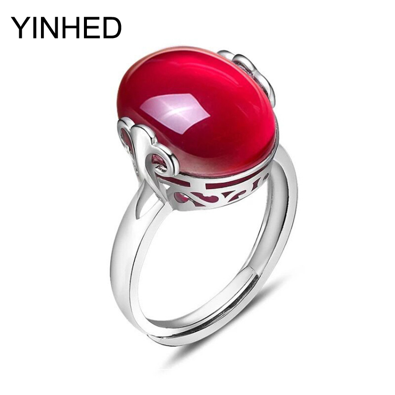 90% Off ! YINHED 925 Sterling Silver Ring Natural Oval Red Corundum Wedding Ring Opening Rings for Women Fashion Jewelry ZR5011(China (Mainland))