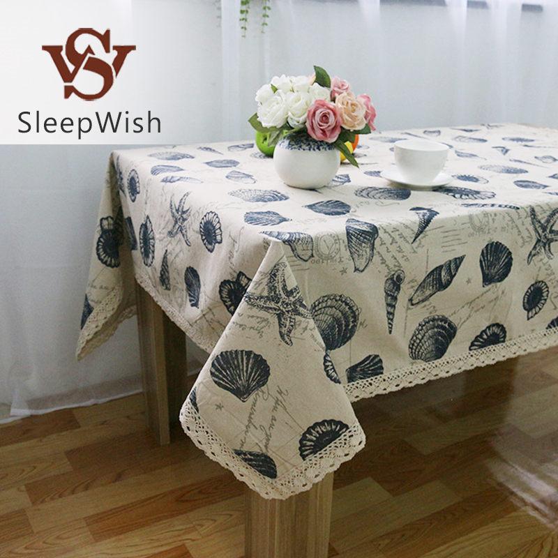 SleepWish Tablecloth Shell Ocean Style Table Cover Linen Cotton European Tablecloths Rectangular 9 Sizes(China (Mainland))