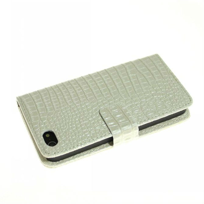 Fold Multi Card Holder Stand Pouch Crocodile Leather Case for Iphone 5 5s5g , Wallet Leather Handbag+3.5mm Dust plug(China (Mainland))