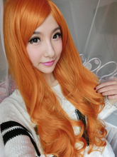 Cheap Synthetic Hair For Women 80cm Long Wavy Curly Orange Purecolor Wig Natural For Cosplay Party Wigs With Bangs Ariel Peruca(China (Mainland))