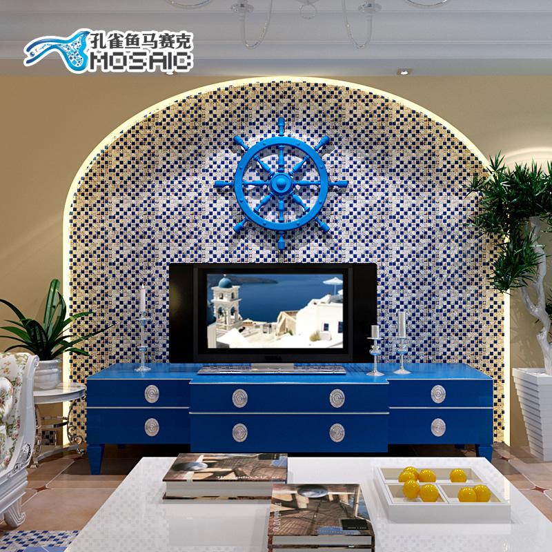 Guppies tc010 mediterranean natural shell azul azulejos de - Pegatinas para tapar agujeros en azulejos ...