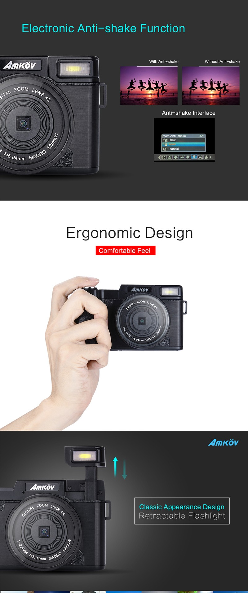 ถูก AMKOV CDR2กล้องดิจิตอลกล้องมืออาชีพHDกล้องวิดีโอกล้องDSLRมุมกว้างTelephotoเลนส์กล้องดิจิตอล