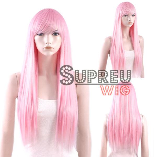 70cm Long Straight Light Pink Fashion Hair Wig with Bangs CM124(China (Mainland))