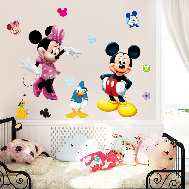 Free shipping Cheap removable kids bedroom decor minnie mouse stickers(China (Mainland))